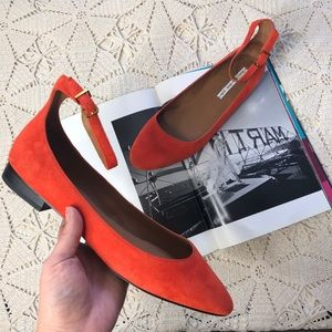 & Other Stories Suede ballerina ankle strap flats